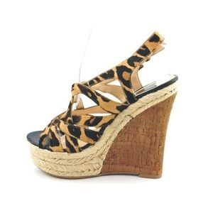 "Boutique 9 ""flower"" leopard print wedge"